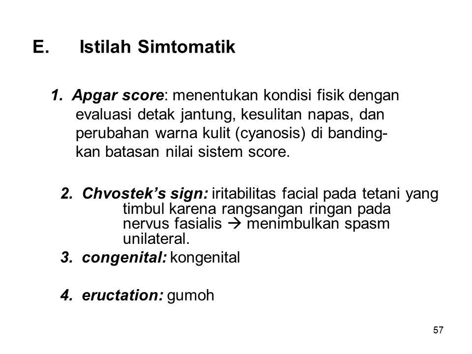 E. Istilah Simtomatik
