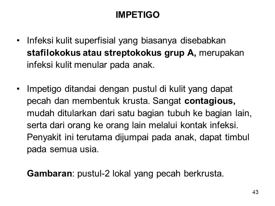 IMPETIGO Infeksi kulit superfisial yang biasanya disebabkan. stafilokokus atau streptokokus grup A, merupakan.