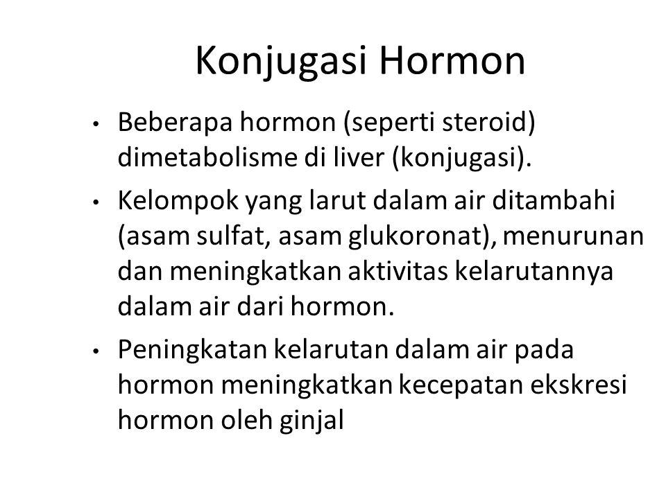Konjugasi Hormon Beberapa hormon (seperti steroid) dimetabolisme di liver (konjugasi).