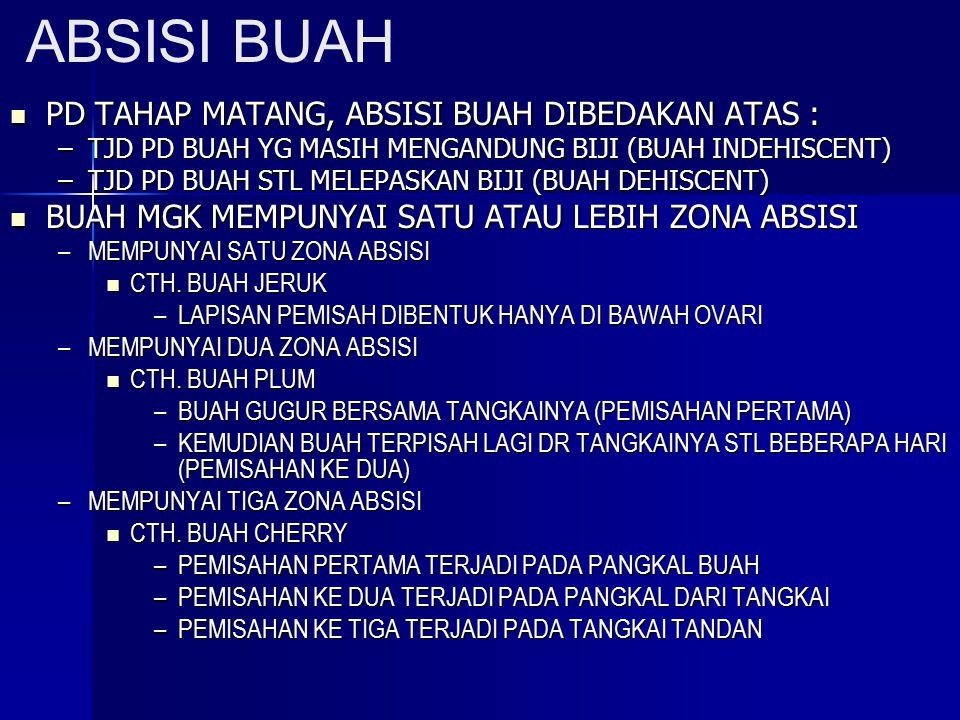 ABSISI BUAH PD TAHAP MATANG, ABSISI BUAH DIBEDAKAN ATAS :
