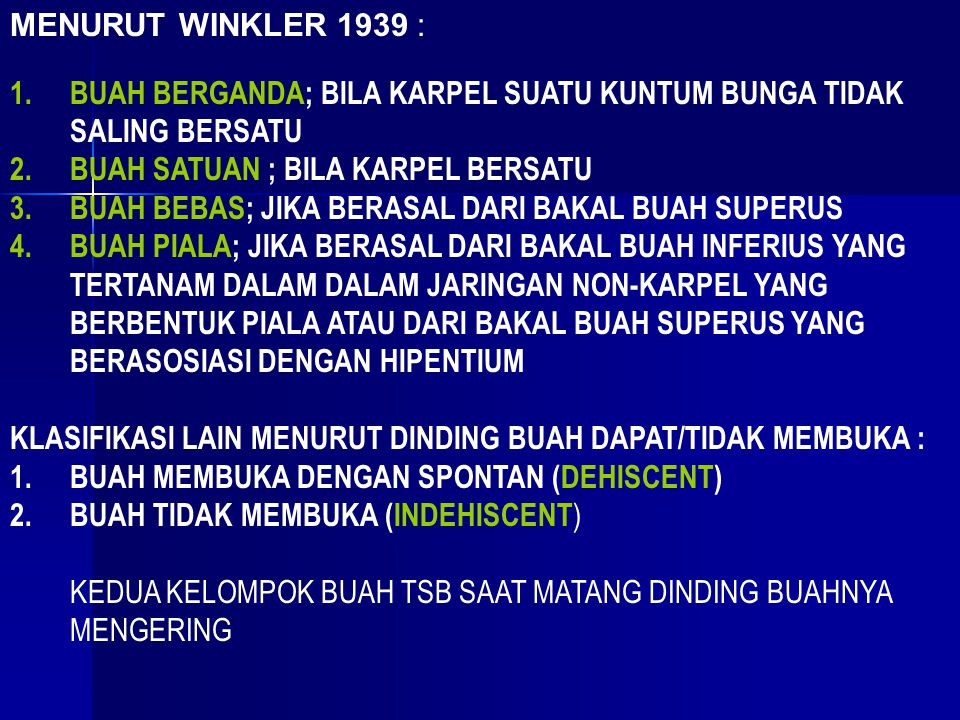 MENURUT WINKLER 1939 : BUAH BERGANDA; BILA KARPEL SUATU KUNTUM BUNGA TIDAK SALING BERSATU. BUAH SATUAN ; BILA KARPEL BERSATU.