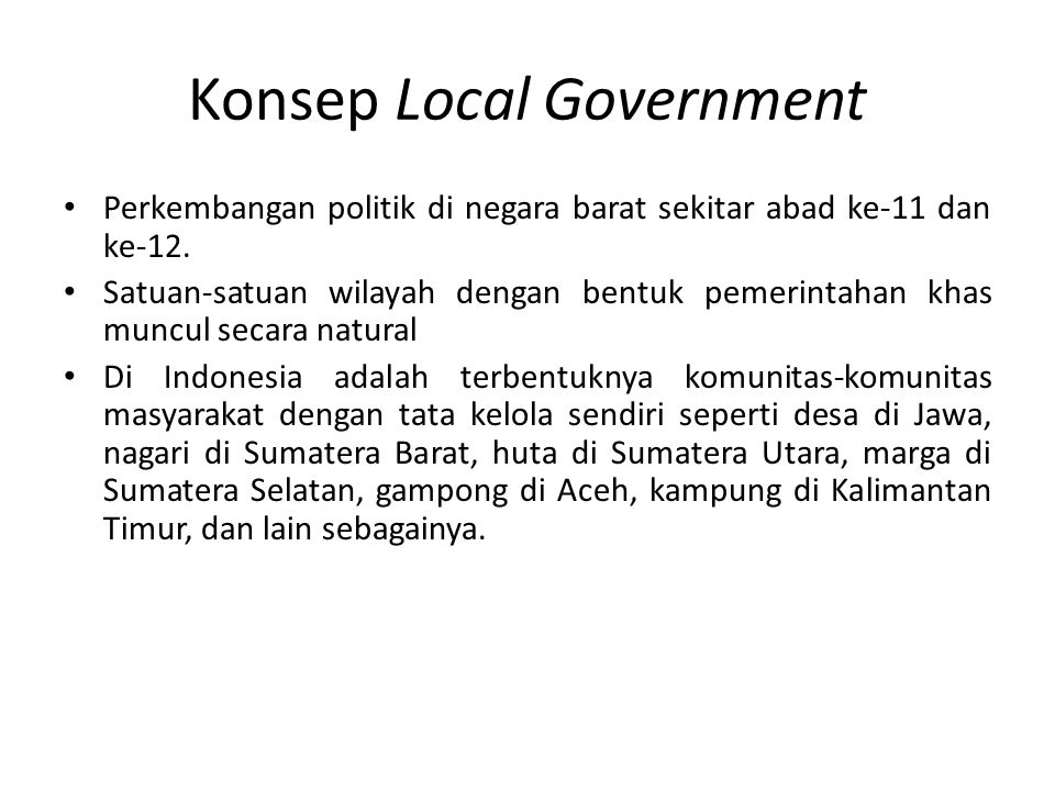 Konsep Local Government