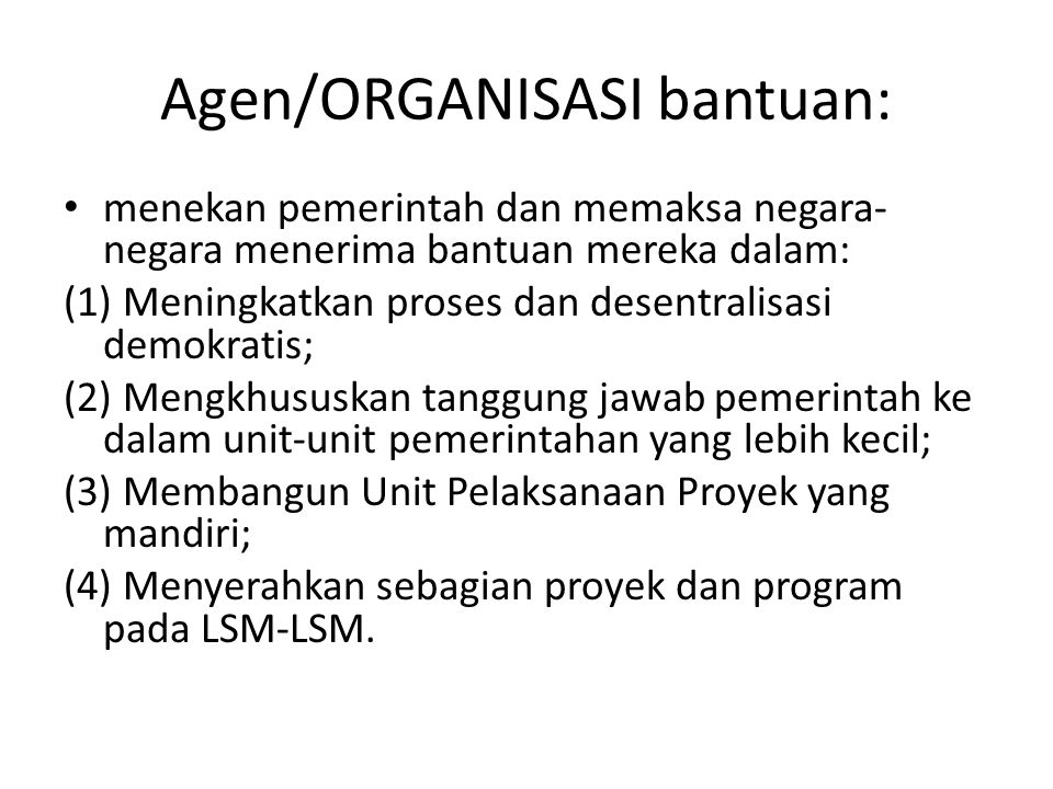 Agen/ORGANISASI bantuan:
