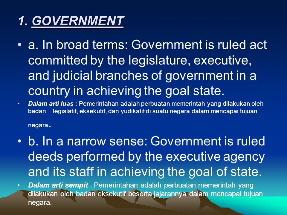 1. GOVERNMENT
