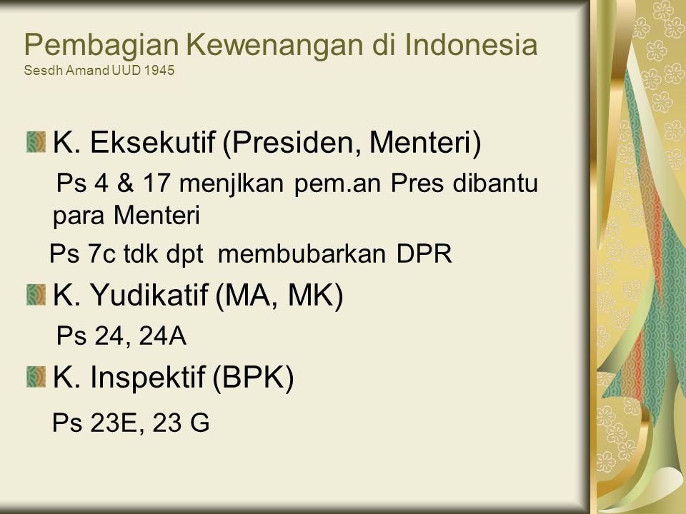 Pembagian Kewenangan di Indonesia Sesdh Amand UUD 1945
