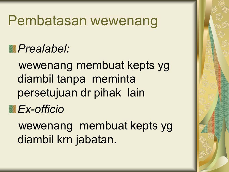 Pembatasan wewenang Prealabel: