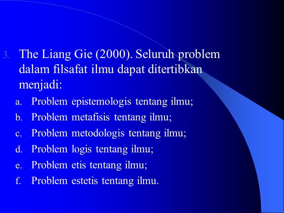 The Liang Gie (2000). Seluruh problem dalam filsafat ilmu dapat ditertibkan menjadi: