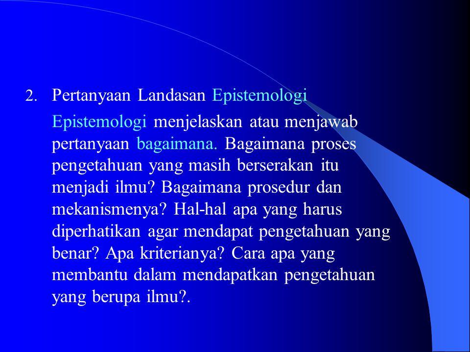 Pertanyaan Landasan Epistemologi