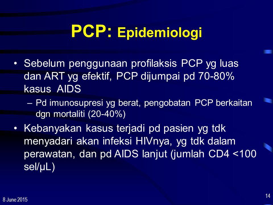 PCP: Epidemiologi Sebelum penggunaan profilaksis PCP yg luas dan ART yg efektif, PCP dijumpai pd 70-80% kasus AIDS.