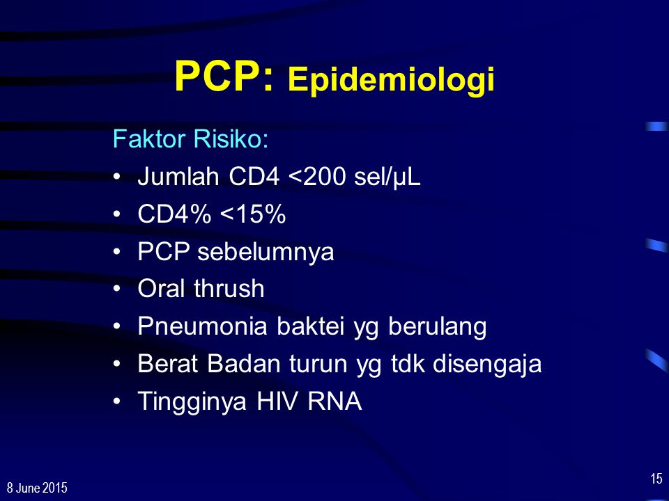 PCP: Epidemiologi Faktor Risiko: Jumlah CD4 <200 sel/µL