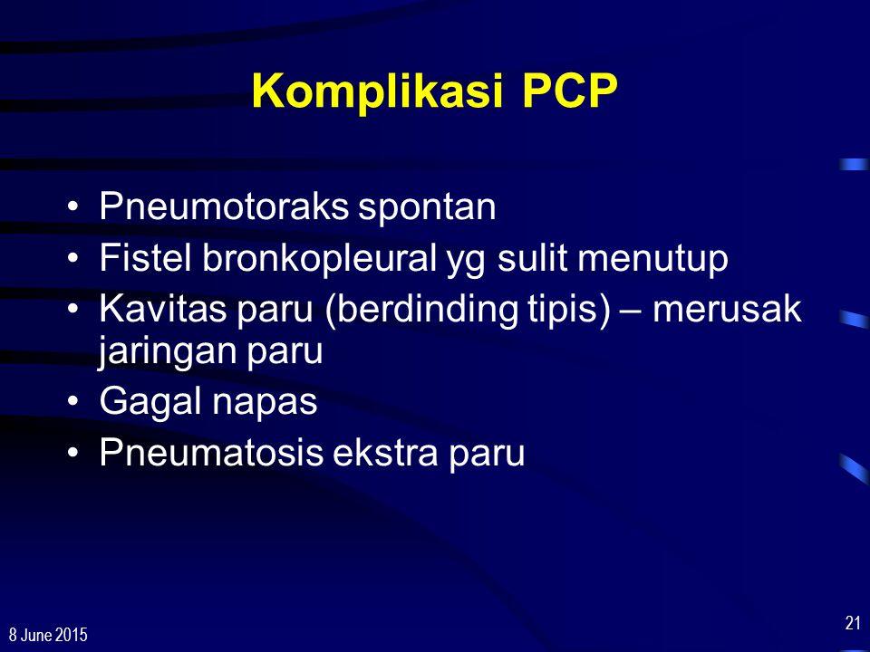 Komplikasi PCP Pneumotoraks spontan