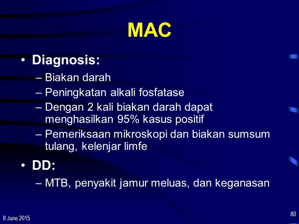 MAC Diagnosis: DD: Biakan darah Peningkatan alkali fosfatase