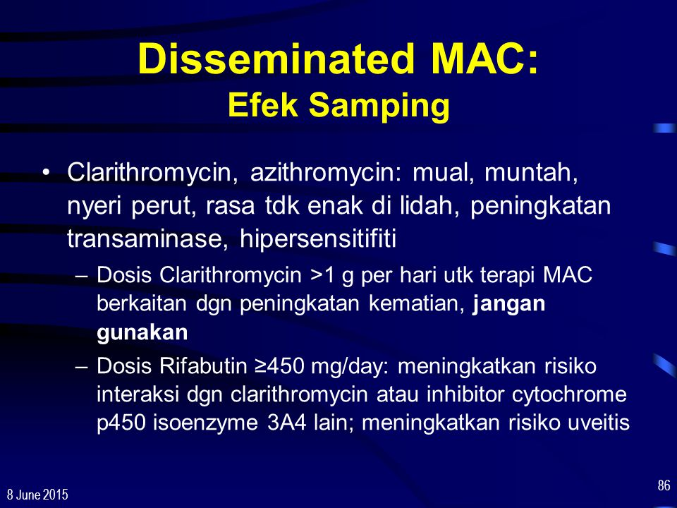 Disseminated MAC: Efek Samping