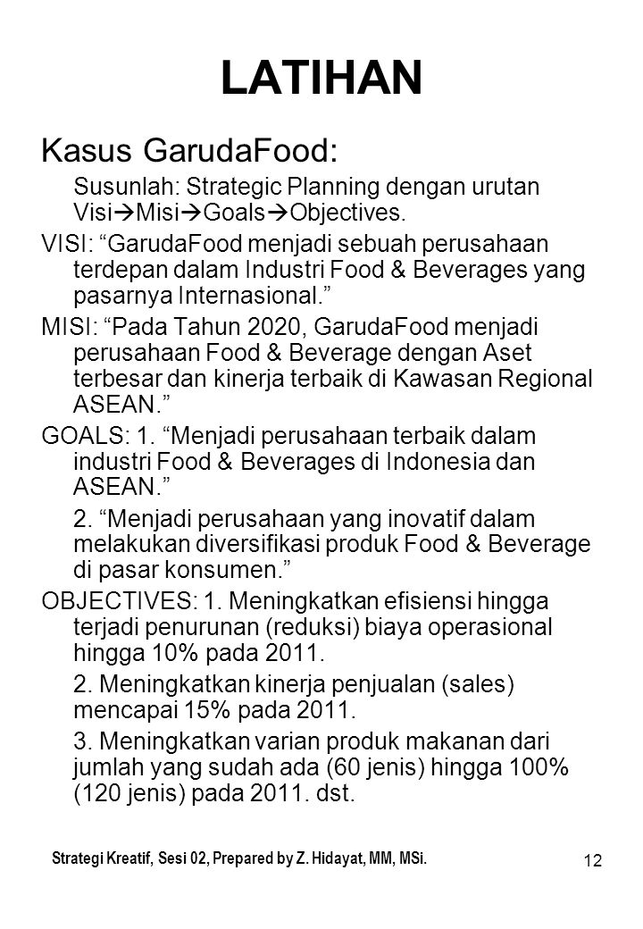 LATIHAN Kasus GarudaFood: