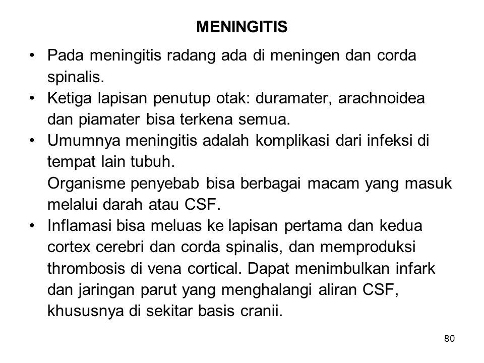 MENINGITIS Pada meningitis radang ada di meningen dan corda. spinalis. Ketiga lapisan penutup otak: duramater, arachnoidea.