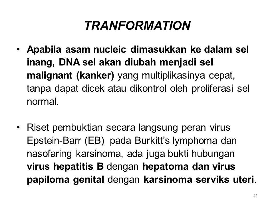 TRANFORMATION Apabila asam nucleic dimasukkan ke dalam sel