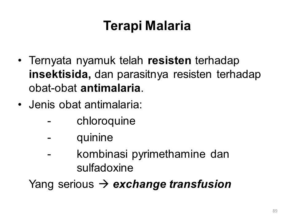 Terapi Malaria Ternyata nyamuk telah resisten terhadap insektisida, dan parasitnya resisten terhadap obat-obat antimalaria.
