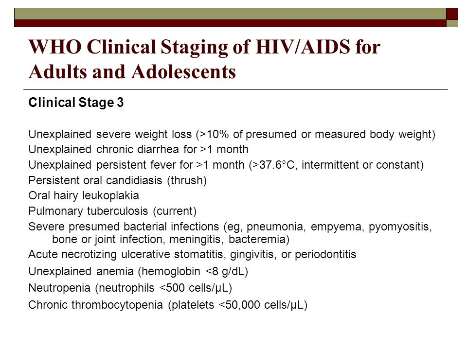 WHO Clinical Staging of HIV/AIDS for Adults and Adolescents