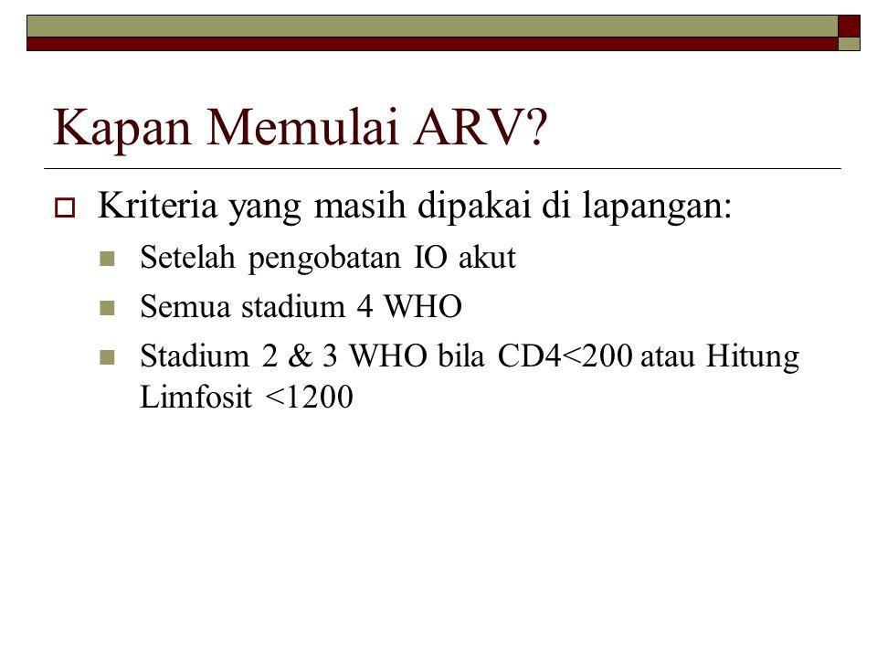 Kapan Memulai ARV Kriteria yang masih dipakai di lapangan: