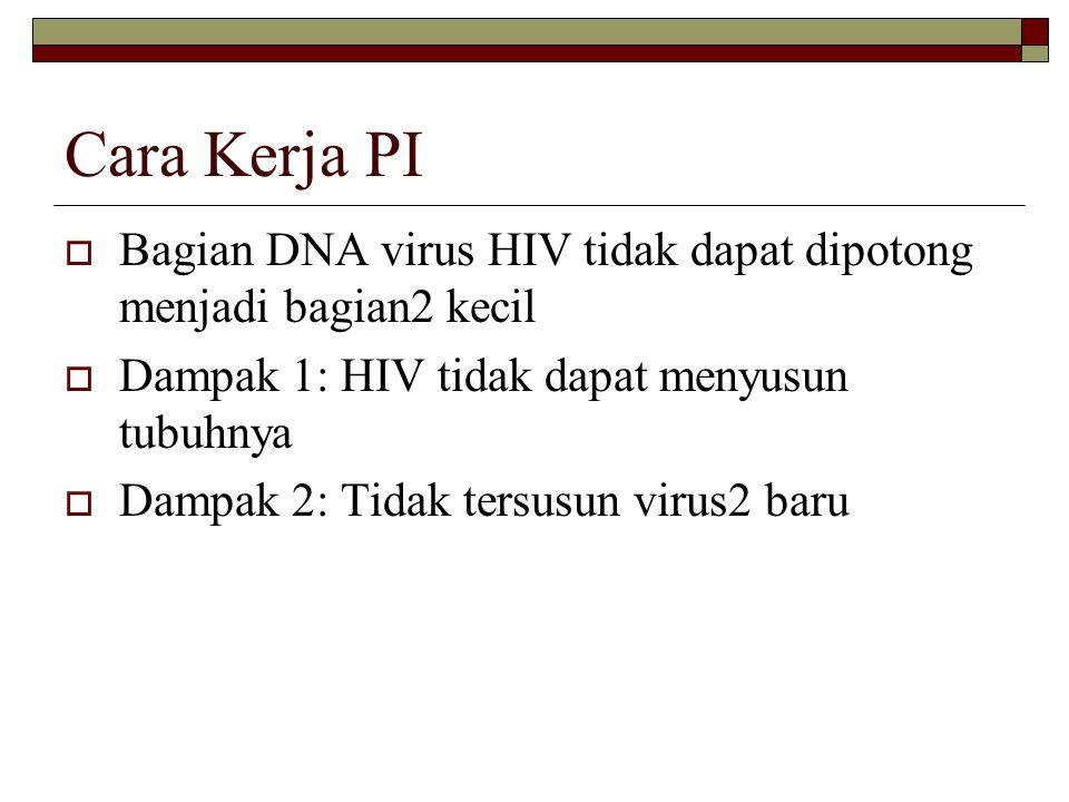 Cara Kerja PI Bagian DNA virus HIV tidak dapat dipotong menjadi bagian2 kecil. Dampak 1: HIV tidak dapat menyusun tubuhnya.