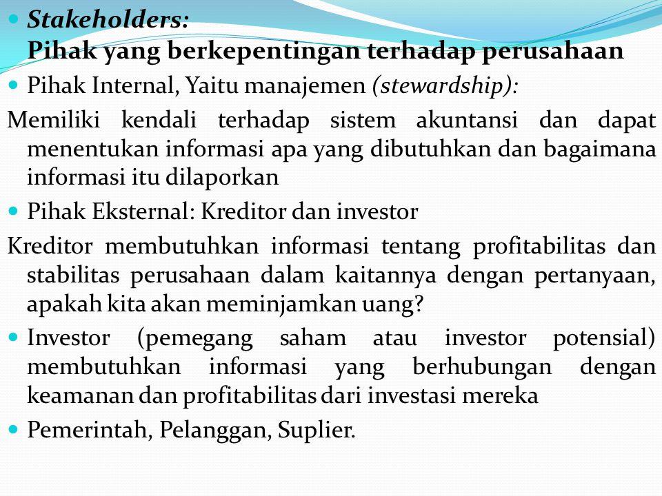 Stakeholders: Pihak yang berkepentingan terhadap perusahaan