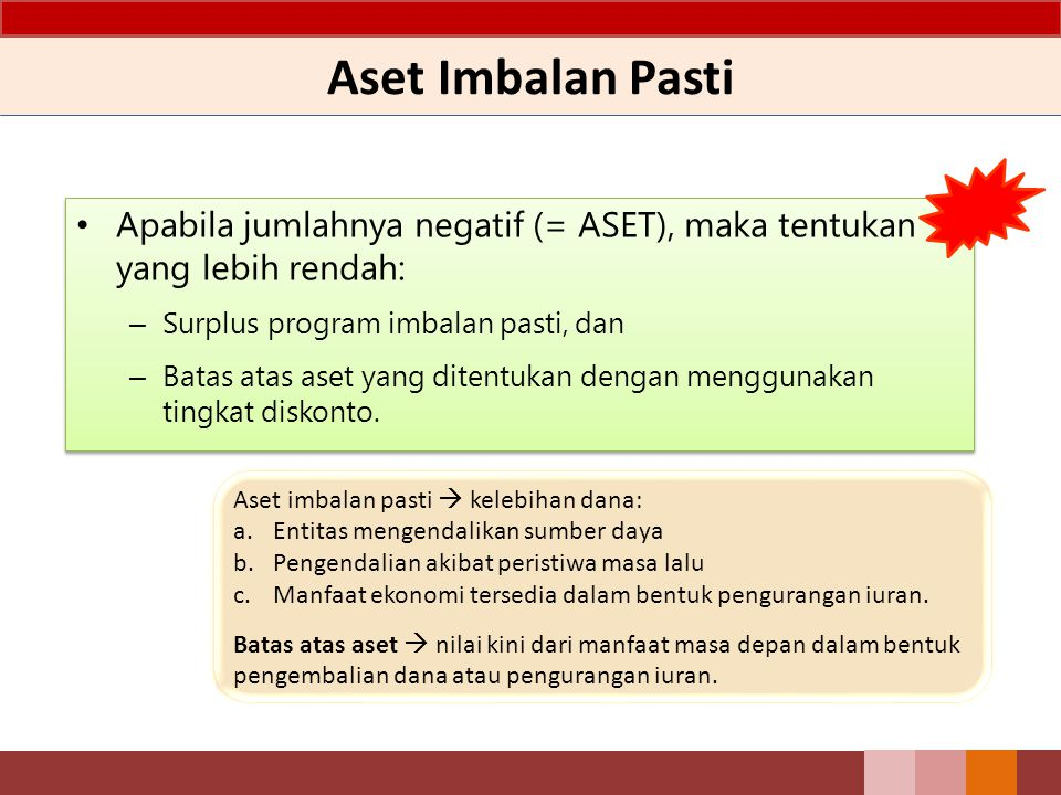 Aset Imbalan Pasti Apabila jumlahnya negatif (= ASET), maka tentukan yang lebih rendah: Surplus program imbalan pasti, dan.