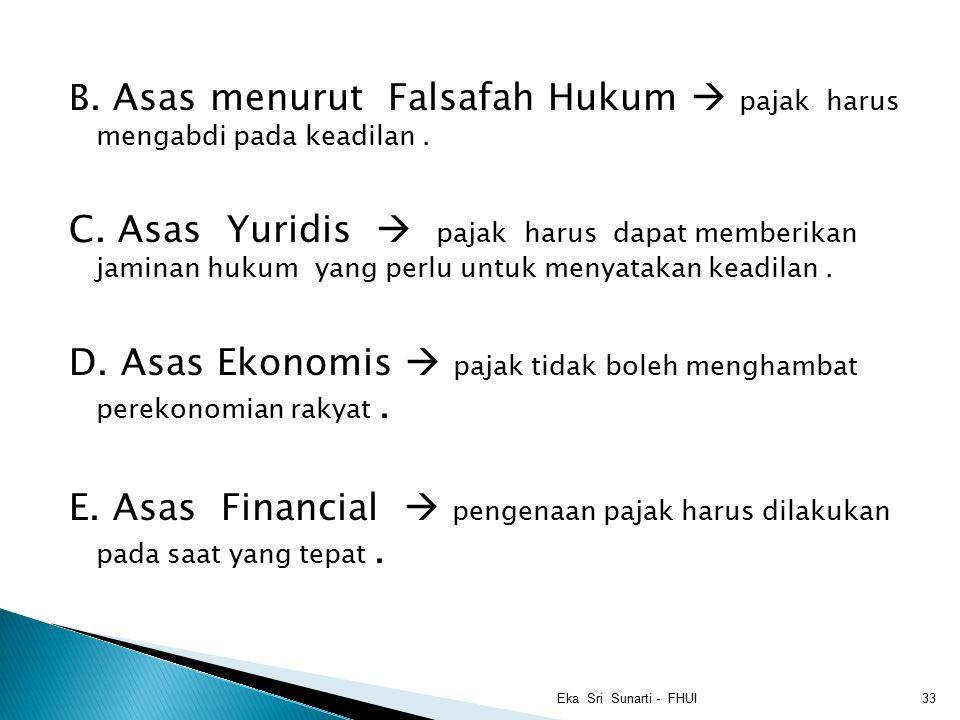 D. Asas Ekonomis  pajak tidak boleh menghambat perekonomian rakyat .