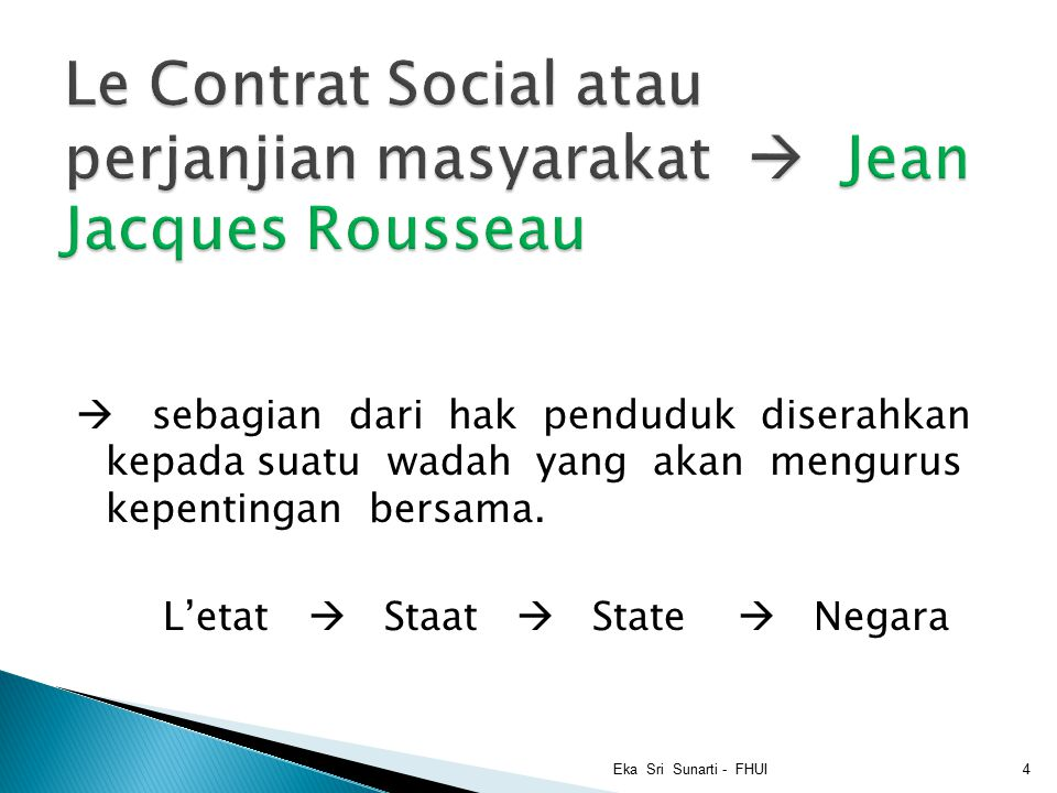 Le Contrat Social atau perjanjian masyarakat  Jean Jacques Rousseau