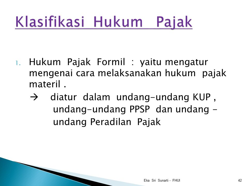 Klasifikasi Hukum Pajak