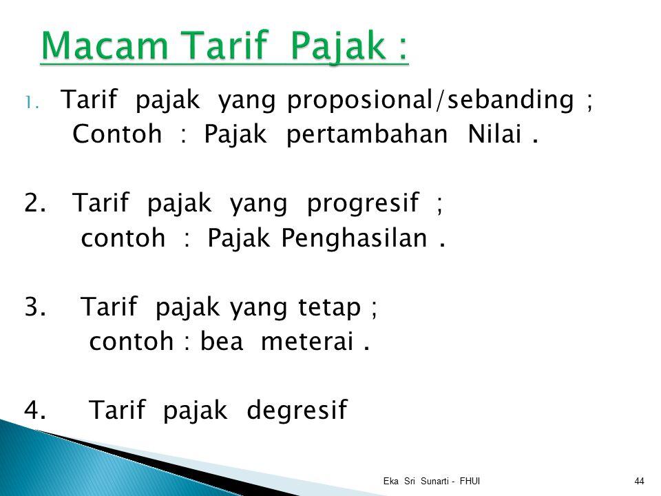 Macam Tarif Pajak : Tarif pajak yang proposional/sebanding ;