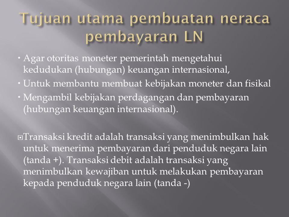 Tujuan utama pembuatan neraca pembayaran LN