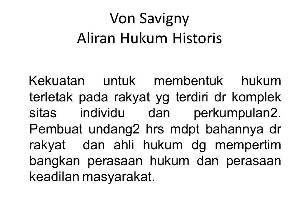 Von Savigny Aliran Hukum Historis