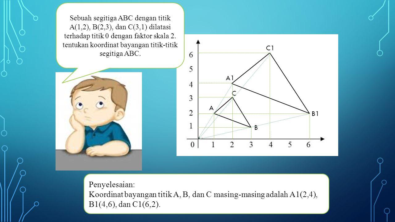 Sebuah segitiga ABC dengan titik A(1,2), B(2,3), dan C(3,1) dilatasi terhadap titik 0 dengan faktor skala 2. tentukan koordinat bayangan titik-titik segitiga ABC.