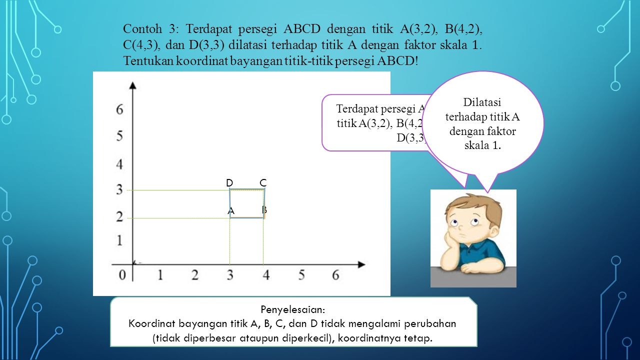 Contoh 3: Terdapat persegi ABCD dengan titik A(3,2), B(4,2), C(4,3), dan D(3,3) dilatasi terhadap titik A dengan faktor skala 1. Tentukan koordinat bayangan titik-titik persegi ABCD!