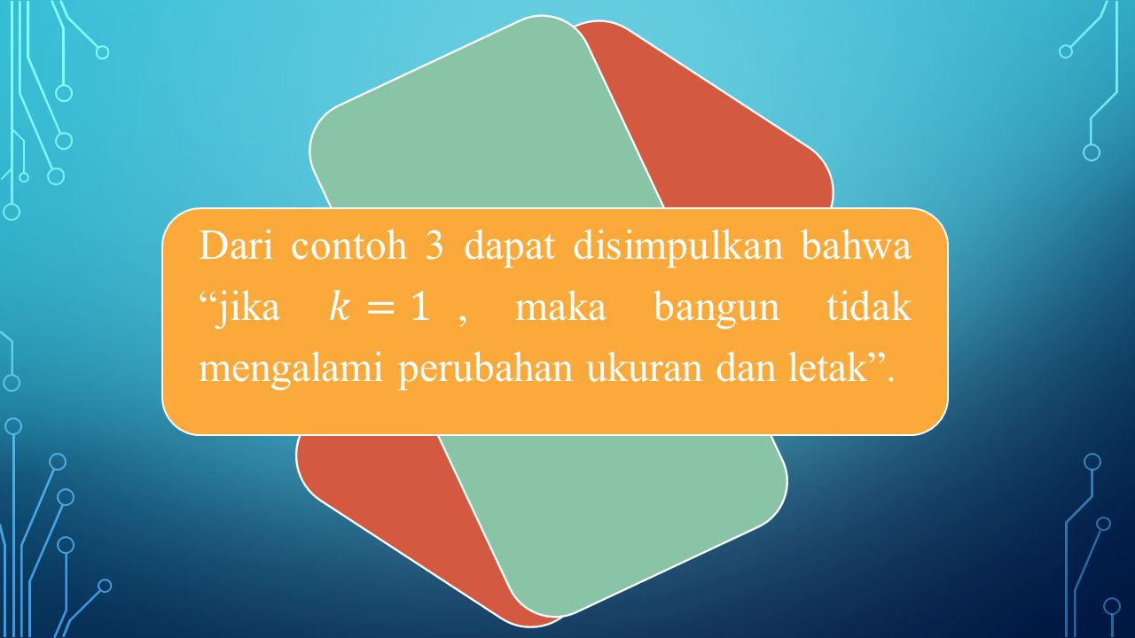 Dari contoh 3 dapat disimpulkan bahwa jika 𝑘=1, maka bangun tidak mengalami perubahan ukuran dan letak .