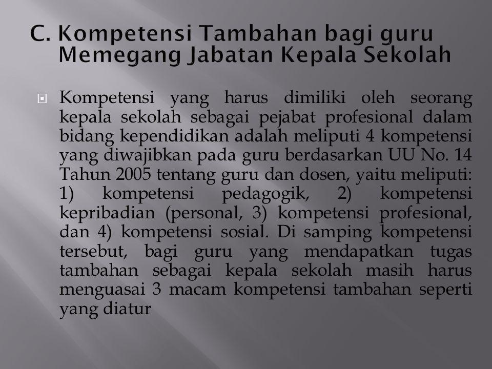 C. Kompetensi Tambahan bagi guru Memegang Jabatan Kepala Sekolah