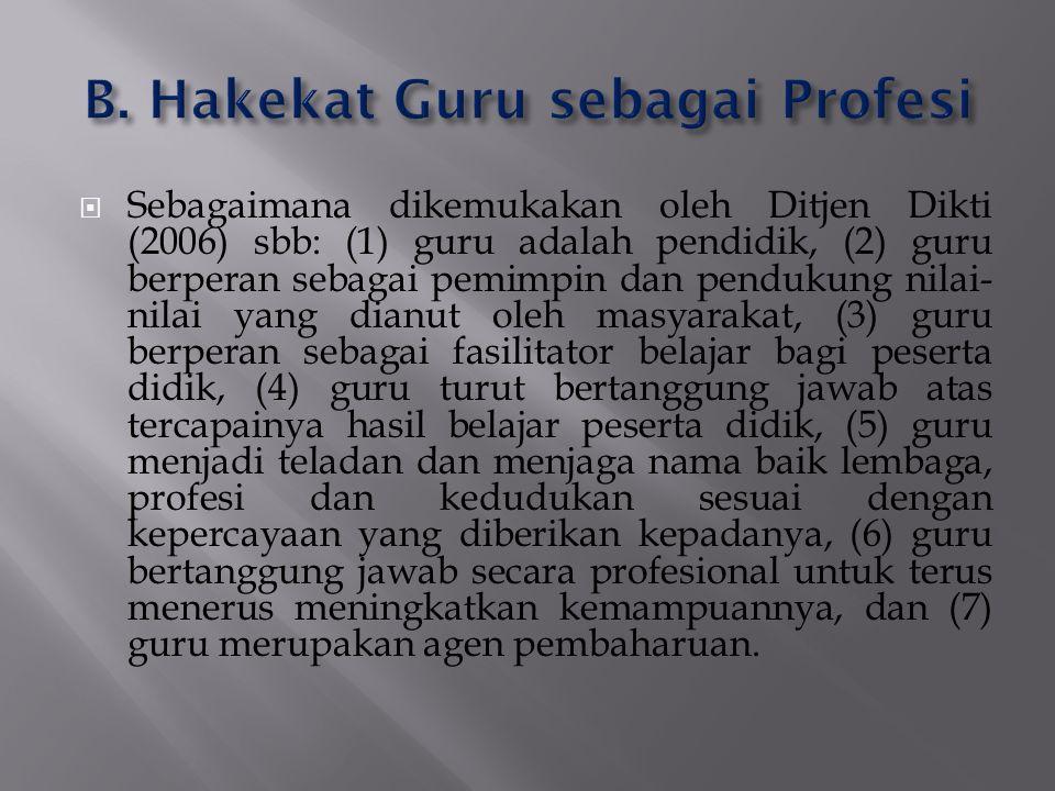 B. Hakekat Guru sebagai Profesi