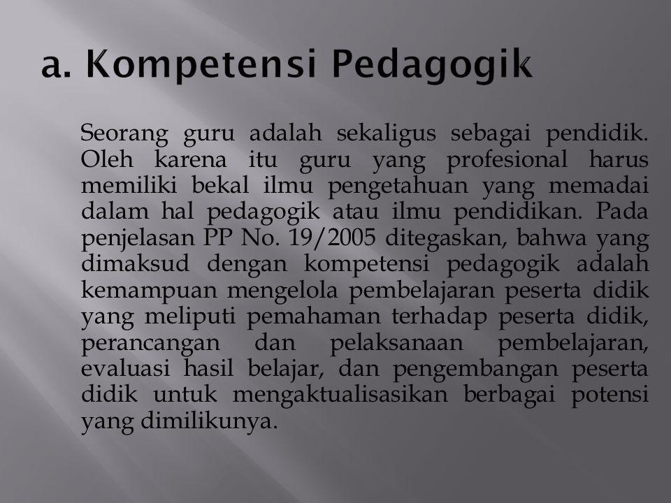 a. Kompetensi Pedagogik