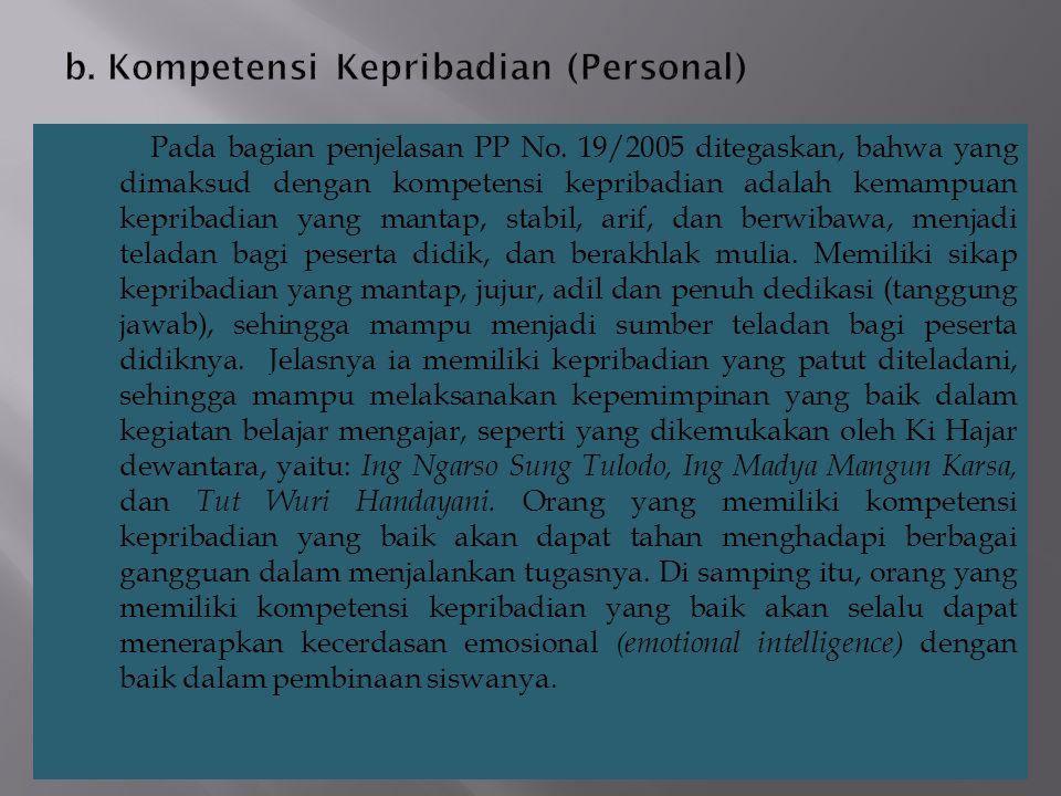 b. Kompetensi Kepribadian (Personal)