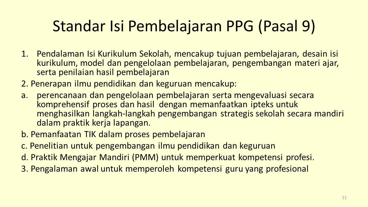 Standar Isi Pembelajaran PPG (Pasal 9)
