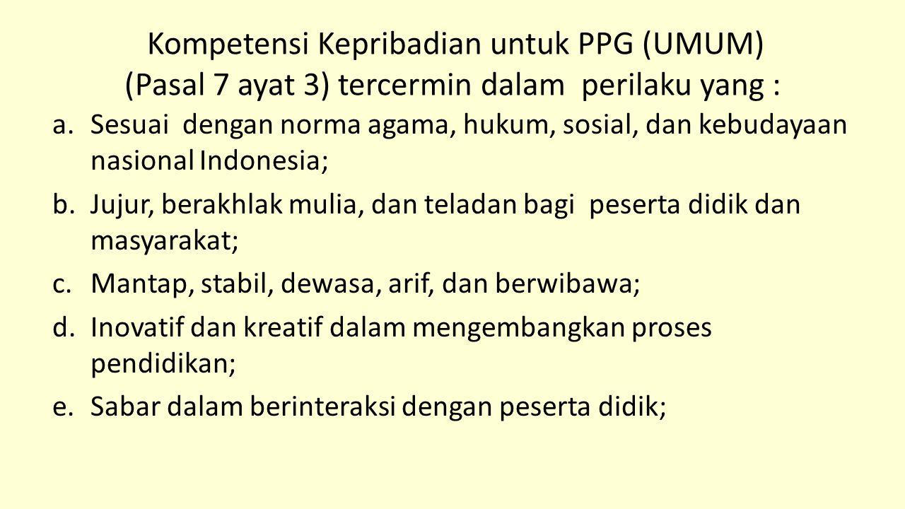 Kompetensi Kepribadian untuk PPG (UMUM) (Pasal 7 ayat 3) tercermin dalam perilaku yang :