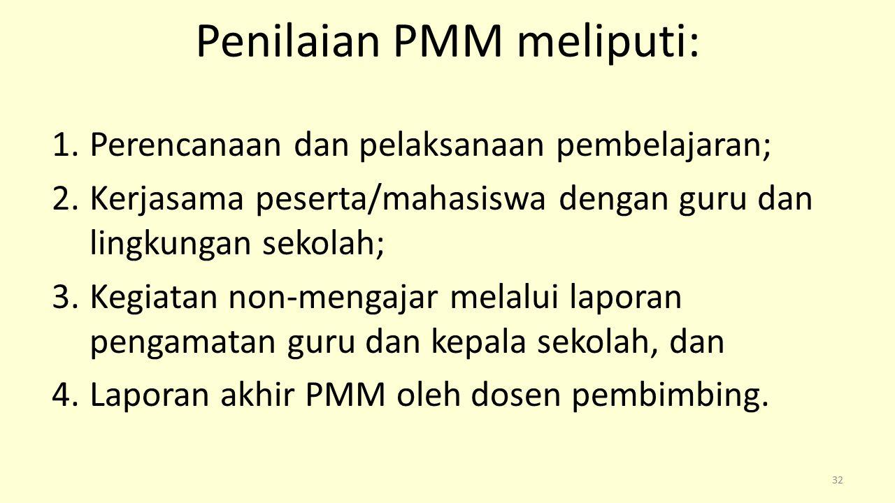Penilaian PMM meliputi: