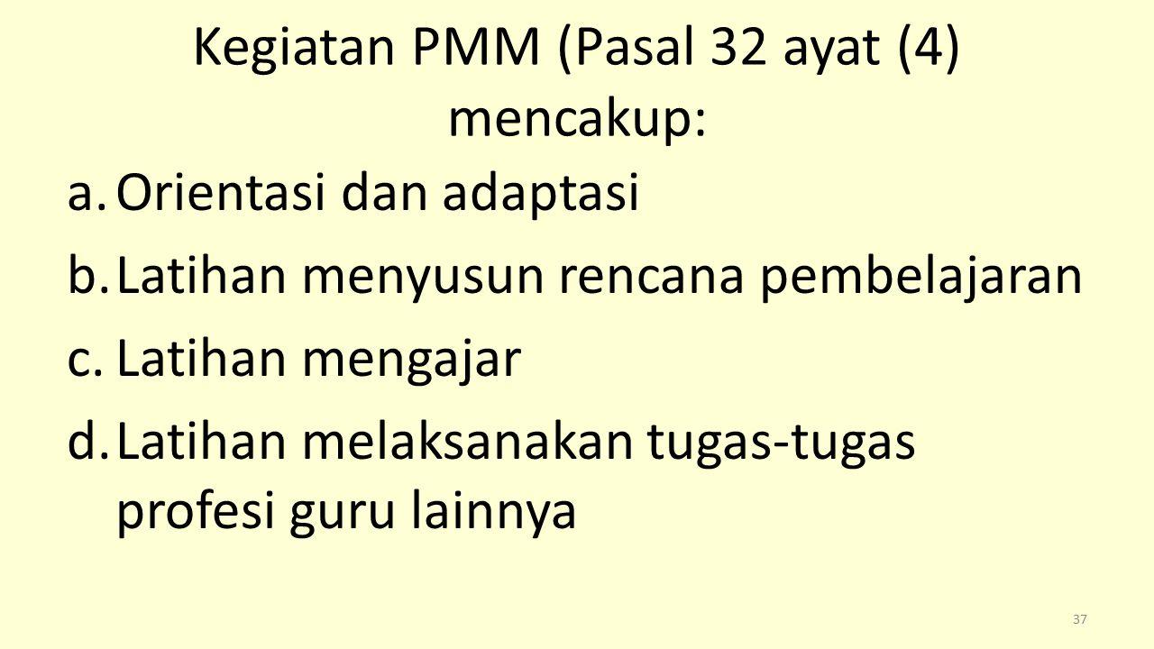 Kegiatan PMM (Pasal 32 ayat (4) mencakup: