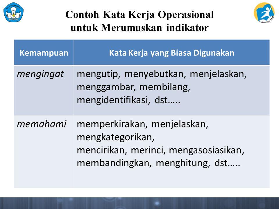 Contoh Kata Kerja Operasional untuk Merumuskan indikator