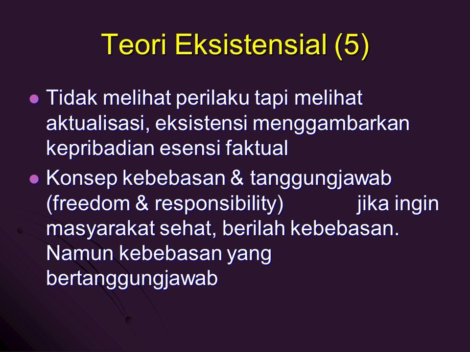 Teori Eksistensial (5) Tidak melihat perilaku tapi melihat aktualisasi, eksistensi menggambarkan kepribadian esensi faktual.