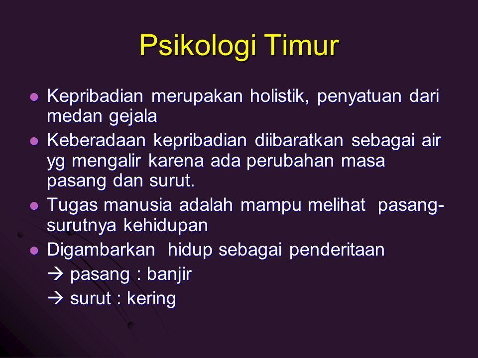 Psikologi Timur Kepribadian merupakan holistik, penyatuan dari medan gejala.