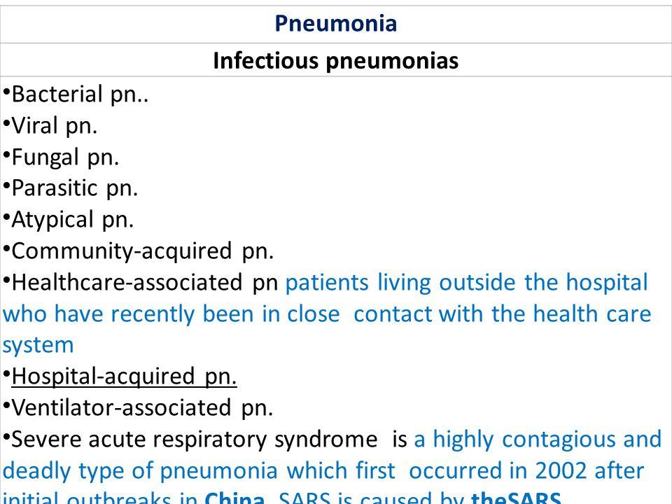Infectious pneumonias