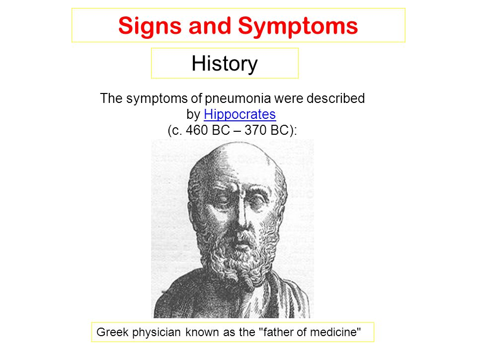 The symptoms of pneumonia were described by Hippocrates