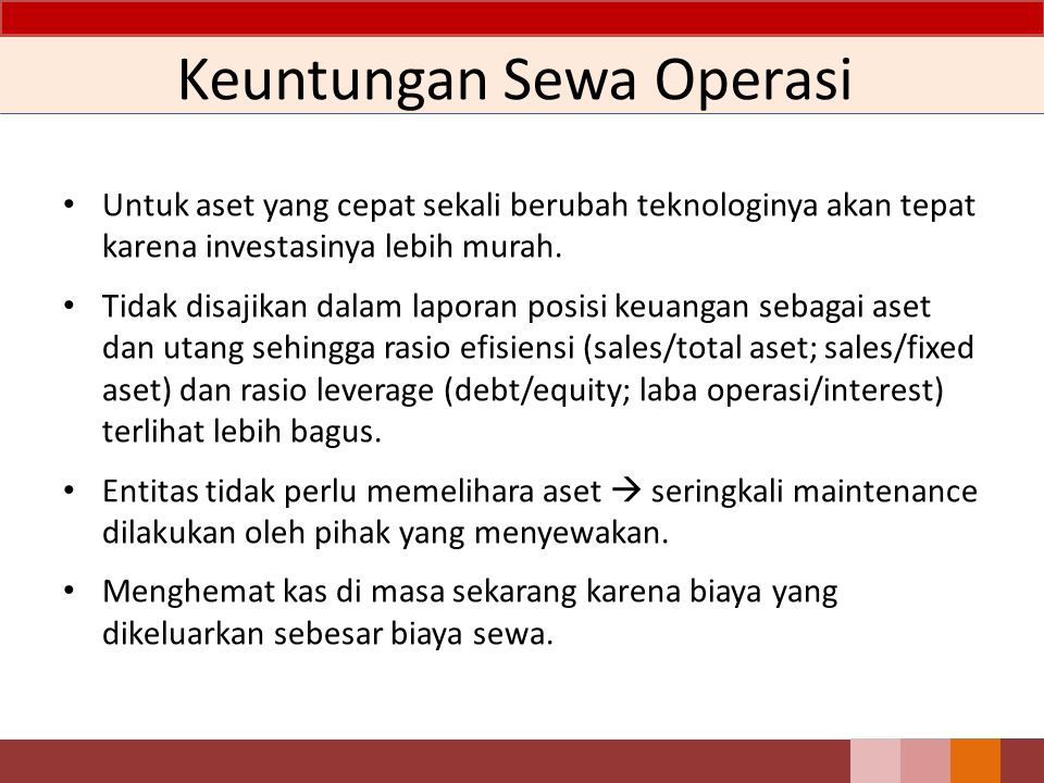 Keuntungan Sewa Operasi
