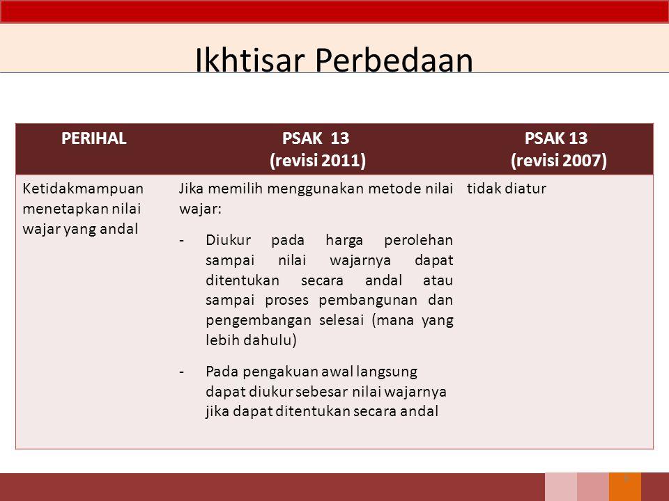 Ikhtisar Perbedaan PERIHAL PSAK 13 (revisi 2011) PSAK 13 (revisi 2007)